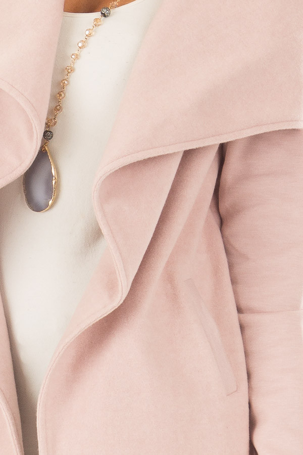 Blush Super Soft Open Jacket with Knit Contrast Sleeves front detail