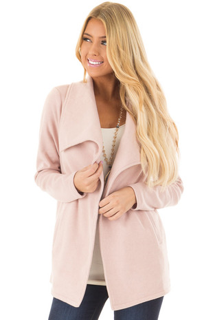 Blush Super Soft Open Jacket with Knit Contrast Sleeves front closeup