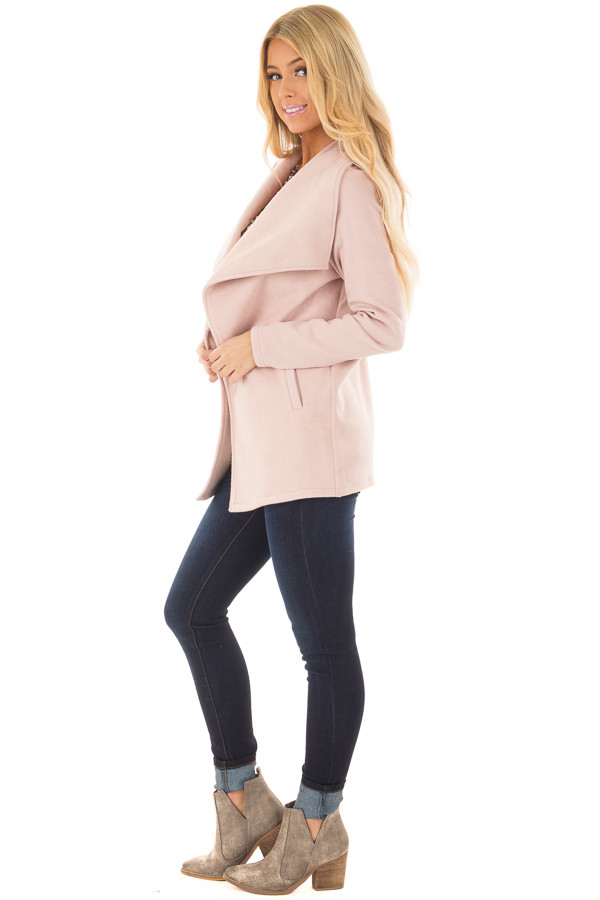 Blush Super Soft Open Jacket with Knit Contrast Sleeves side full body