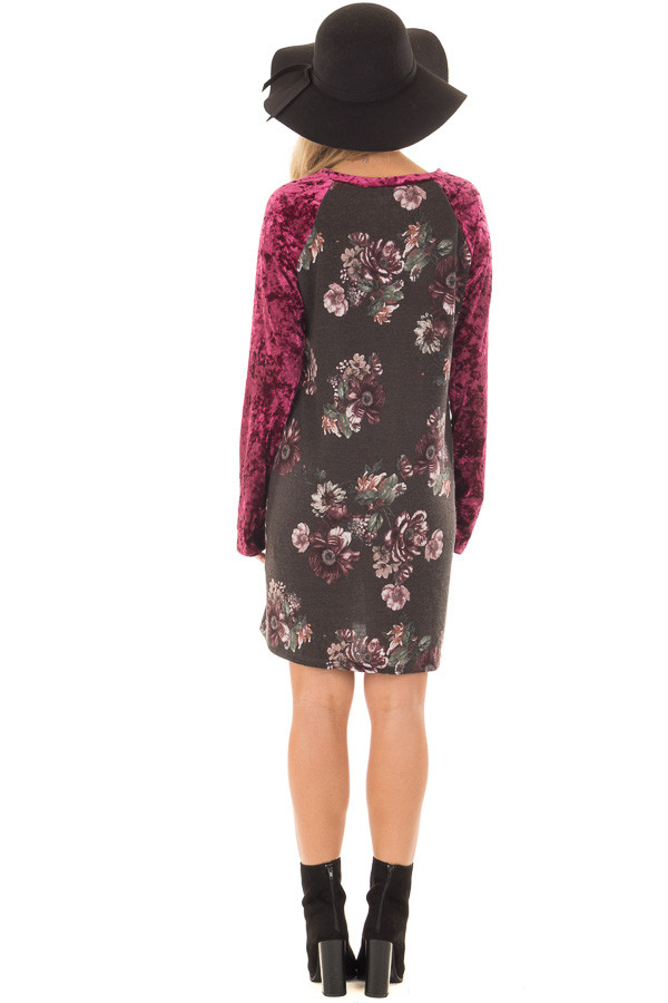 Charcoal Floral Print Dress with Burgundy Crushed Velvet back full body