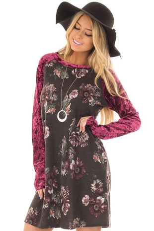 Charcoal Floral Print Dress with Burgundy Crushed Velvet front closeup