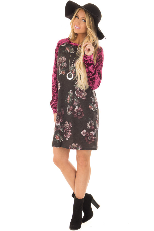 Charcoal Floral Print Dress with Burgundy Crushed Velvet front full body