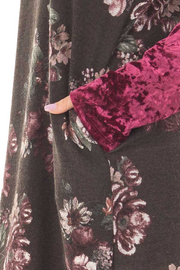 Charcoal Floral Print Dress with Burgundy Crushed Velvet side detail