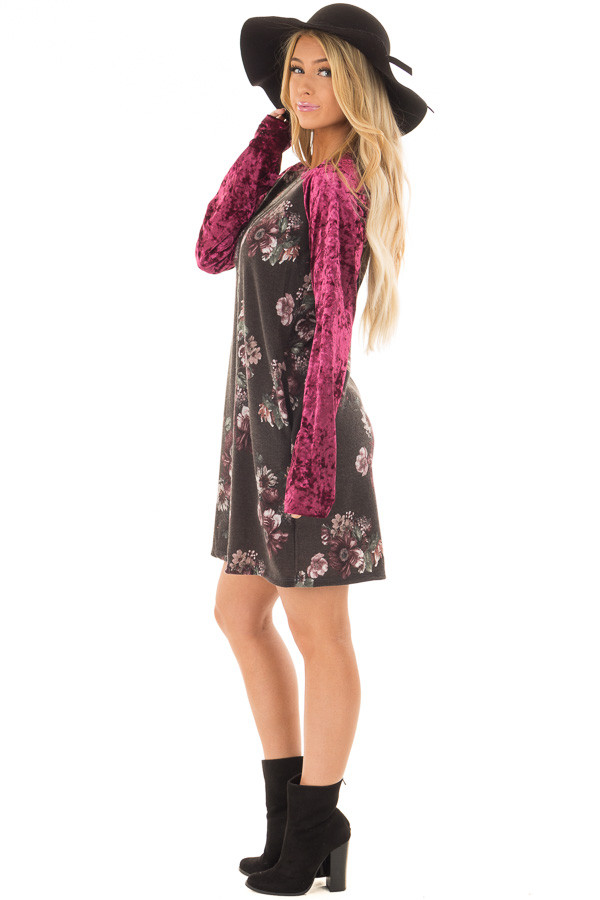 Charcoal Floral Print Dress with Burgundy Crushed Velvet side full body