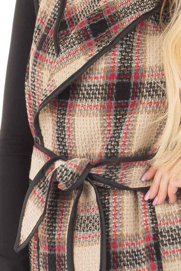Taupe Plaid Open Flowy Vest with Waist Tie front detail