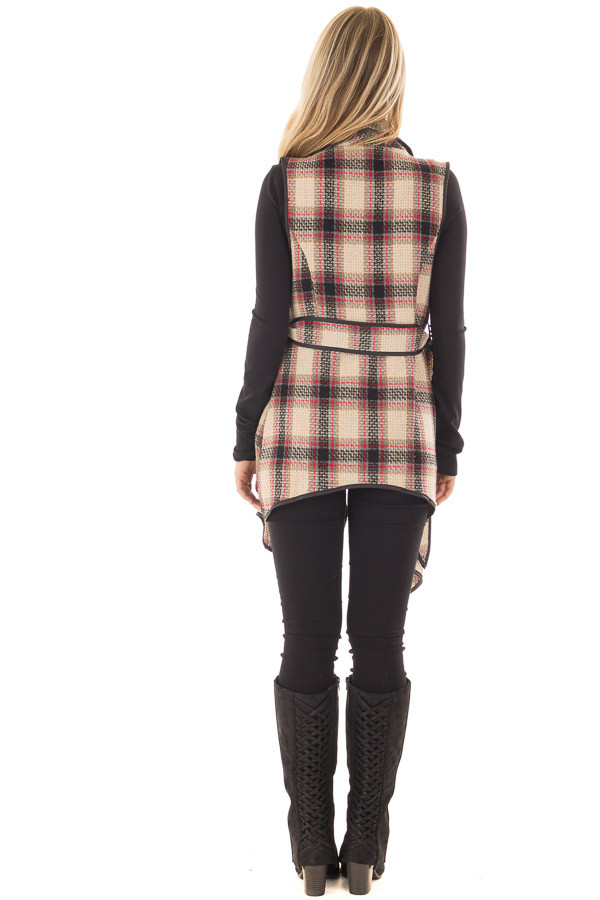 Taupe Plaid Open Flowy Vest with Waist Tie back full body