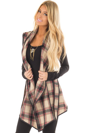Taupe Plaid Open Flowy Vest with Waist Tie front closeup