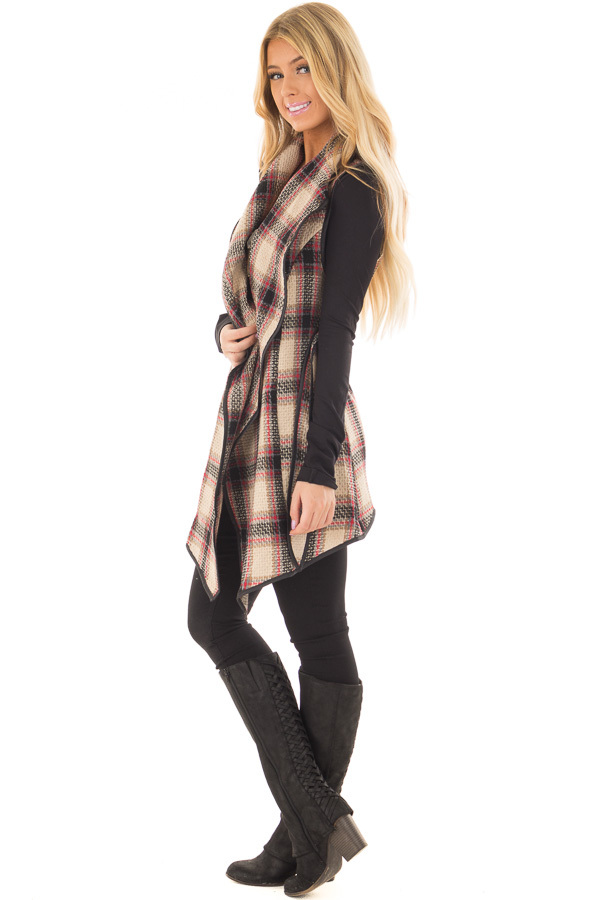 Taupe Plaid Open Flowy Vest with Waist Tie side full body