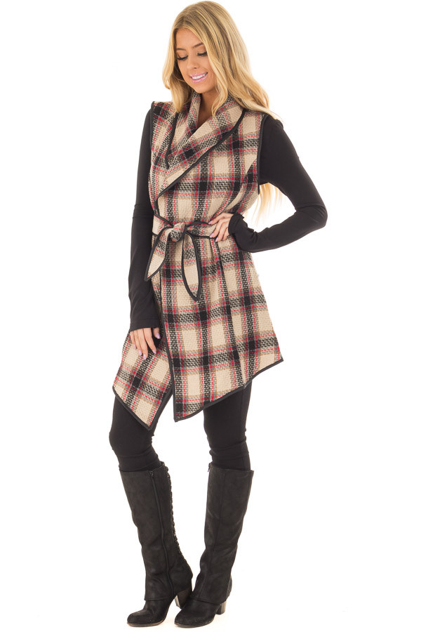 Taupe Plaid Open Flowy Vest with Waist Tie front full body