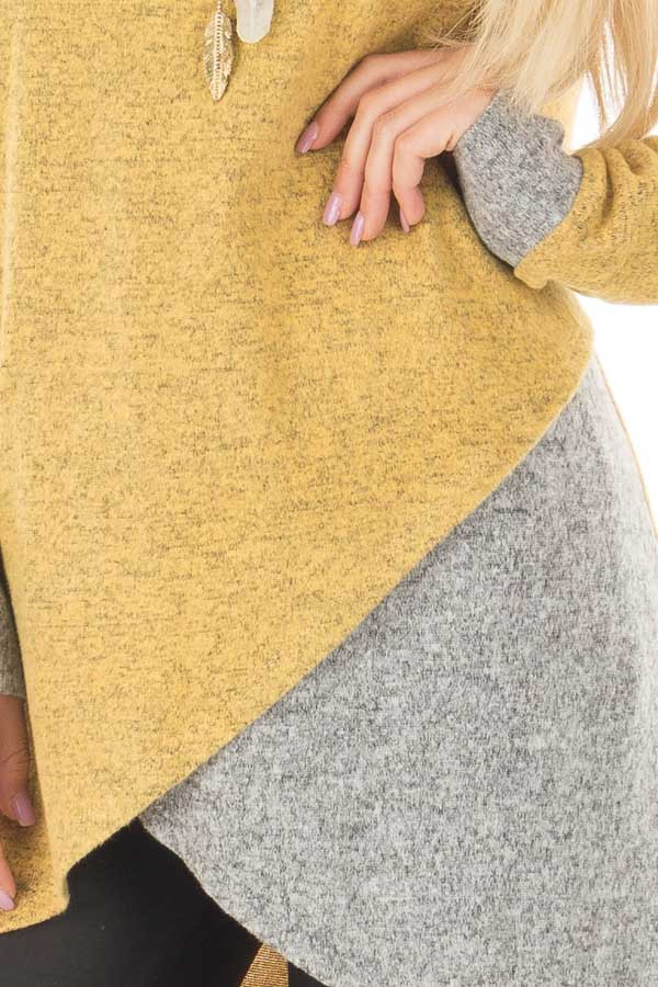 Mustard Layered Tunic Sweater with Heather Grey Accents front detail