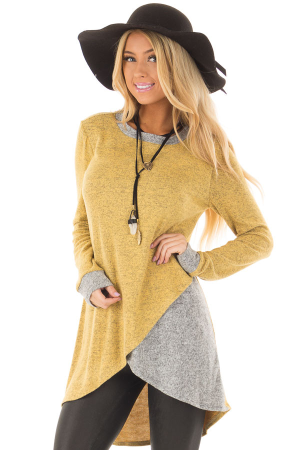 Mustard Layered Tunic Sweater with Heather Grey Accents front closeup
