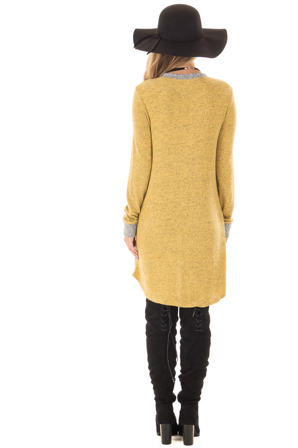 Mustard Layered Tunic Sweater with Heather Grey Accents back full body