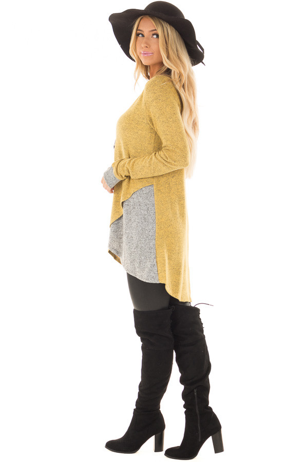 Mustard Layered Tunic Sweater with Heather Grey Accents side full body