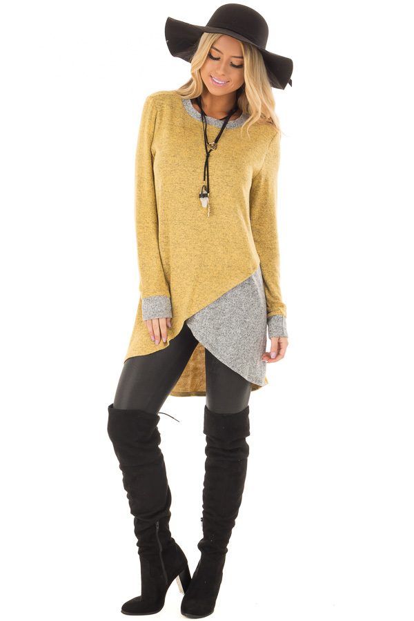 Mustard Layered Tunic Sweater with Heather Grey Accents front full body