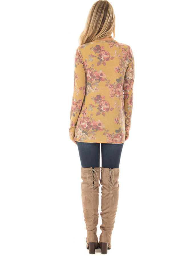 Mustard Floral Print Long Sleeve Top with Front Tie back full body