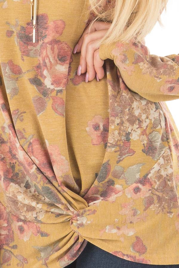 Mustard Floral Print Long Sleeve Top with Front Tie front detail