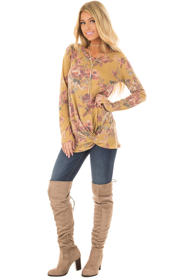 Mustard Floral Print Long Sleeve Top with Front Tie front full body