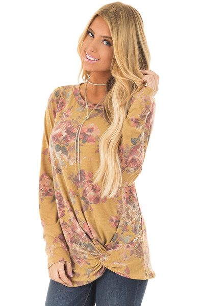 Mustard Floral Print Long Sleeve Top with Front Tie front closeup