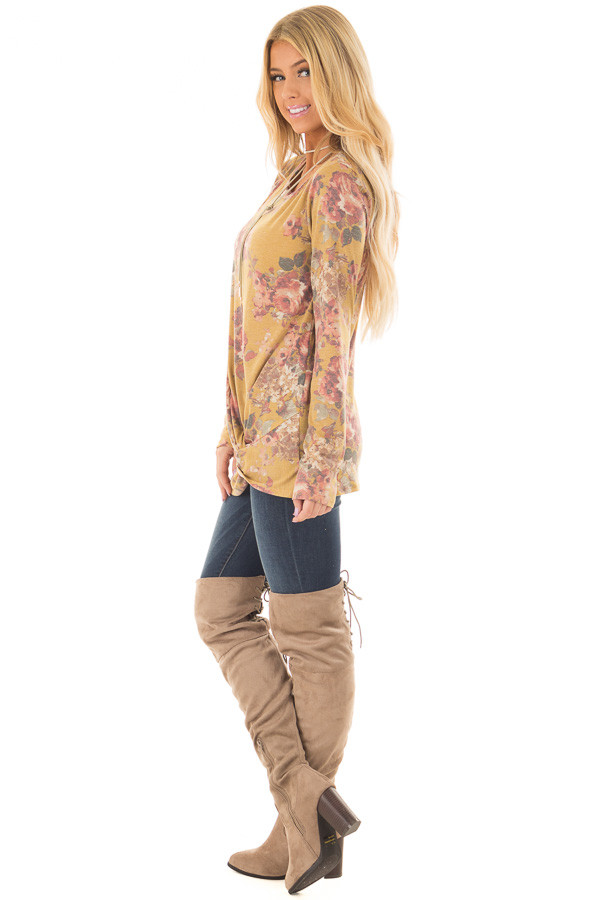 Mustard Floral Print Long Sleeve Top with Front Tie side full body