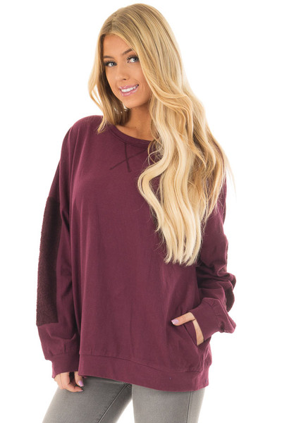 Deep Burgundy Sweater with Textured Contrast on Sleeves front closeup