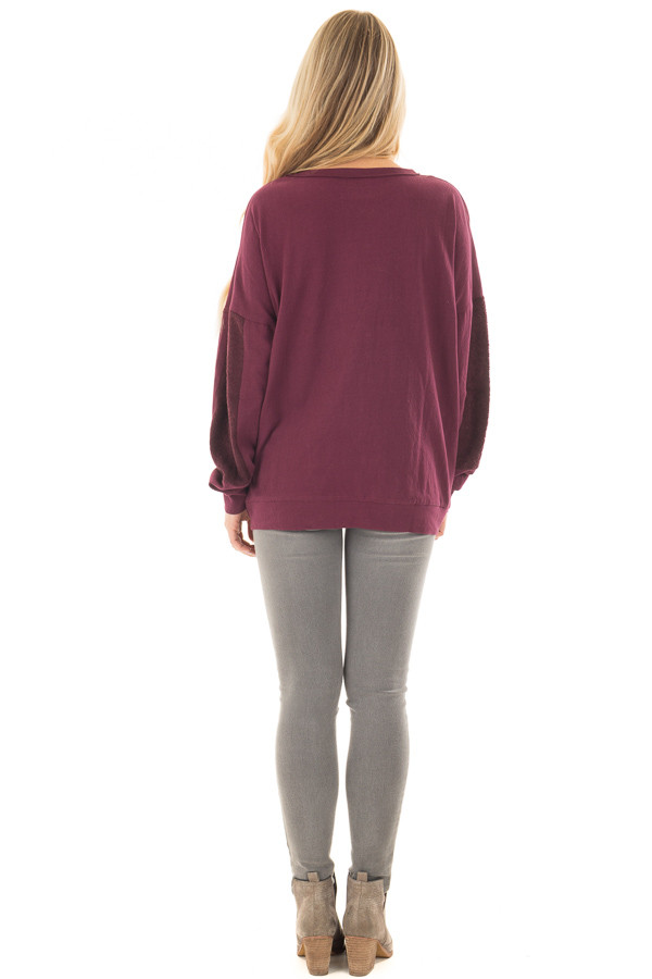 Deep Burgundy Sweater with Textured Contrast on Sleeves back full body