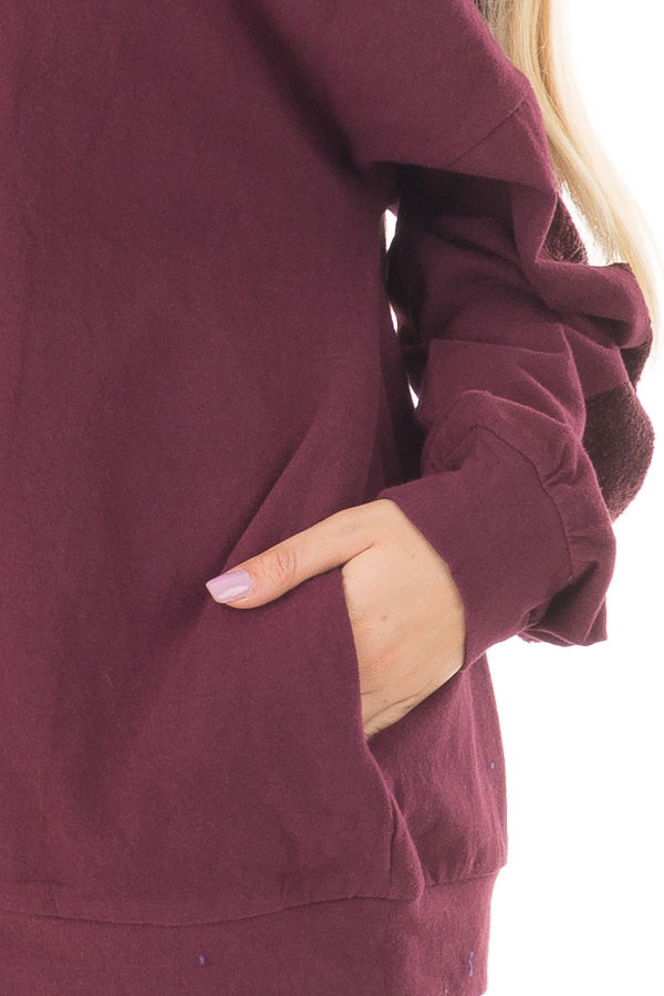 Deep Burgundy Sweater with Textured Contrast on Sleeves front detail