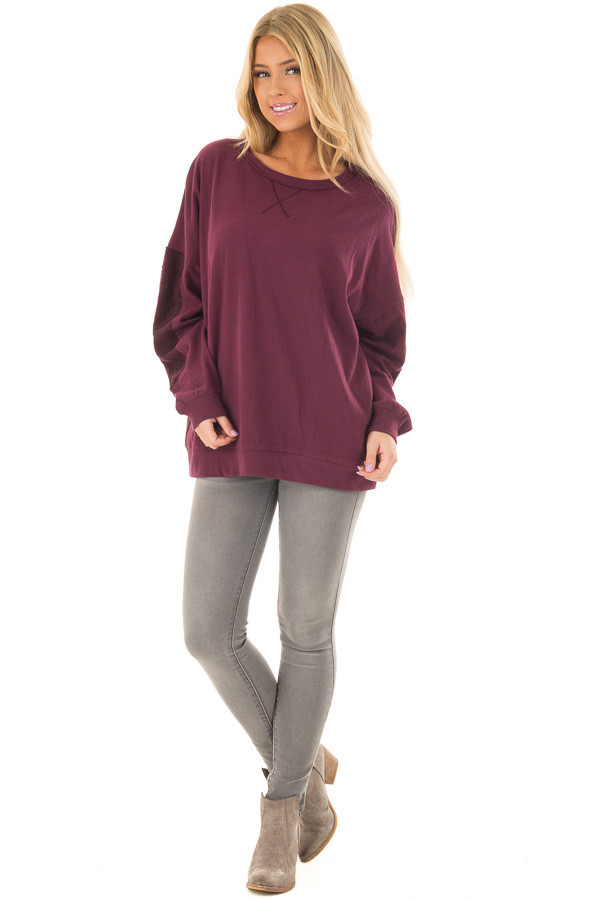 Deep Burgundy Sweater with Textured Contrast on Sleeves front full body