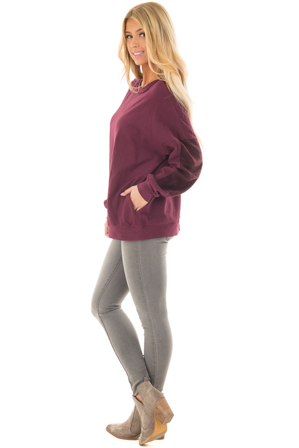 Deep Burgundy Sweater with Textured Contrast on Sleeves side full body