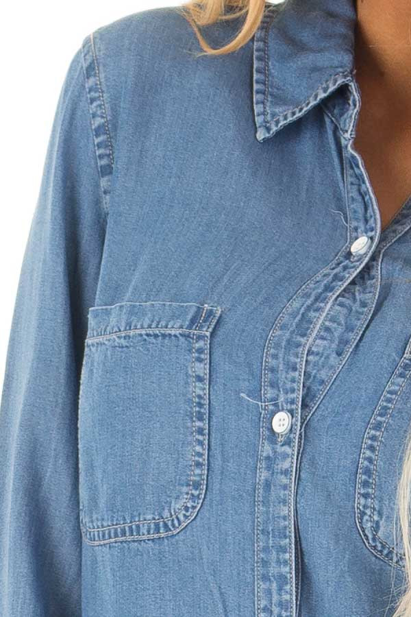 Medium Denim Button Down Top with Rounded Hemline front detail