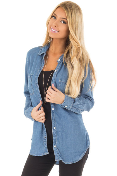 Medium Denim Button Down Top with Rounded Hemline front closeup