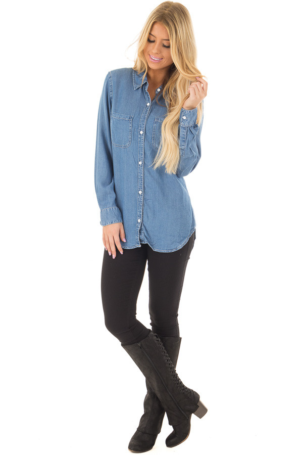 Medium Denim Button Down Top with Rounded Hemline front full body