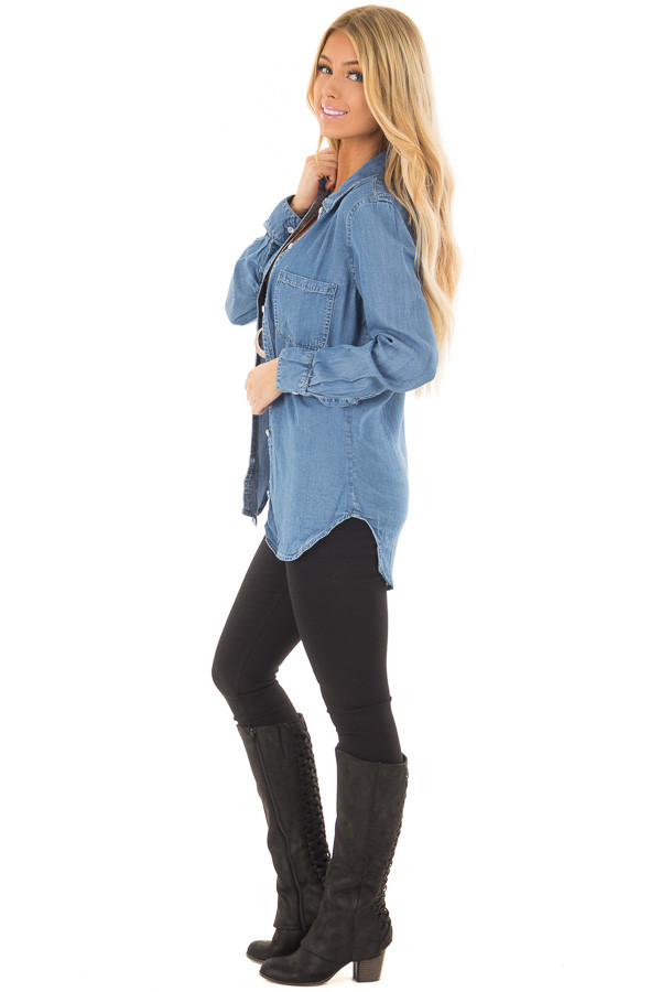 Medium Denim Button Down Top with Rounded Hemline side full body