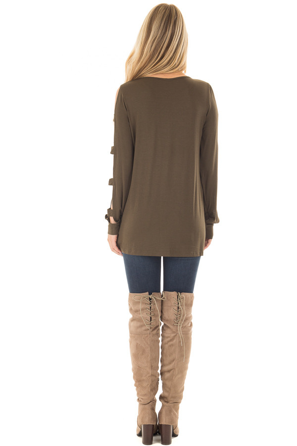 Olive Knit Tee Shirt with Ladder Cut Long Sleeves back full body
