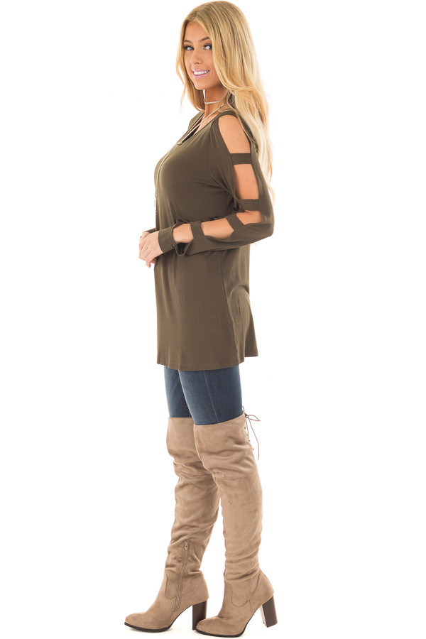 Olive Knit Tee Shirt with Ladder Cut Long Sleeves side full body