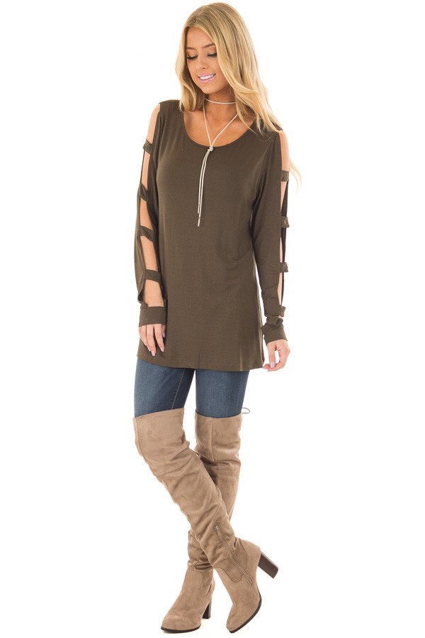 Olive Knit Tee Shirt with Ladder Cut Long Sleeves front full body