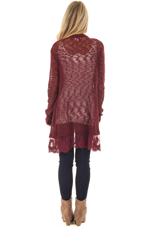 Wine Long Sleeve Cardigan with Sheer Lace Detail back full body