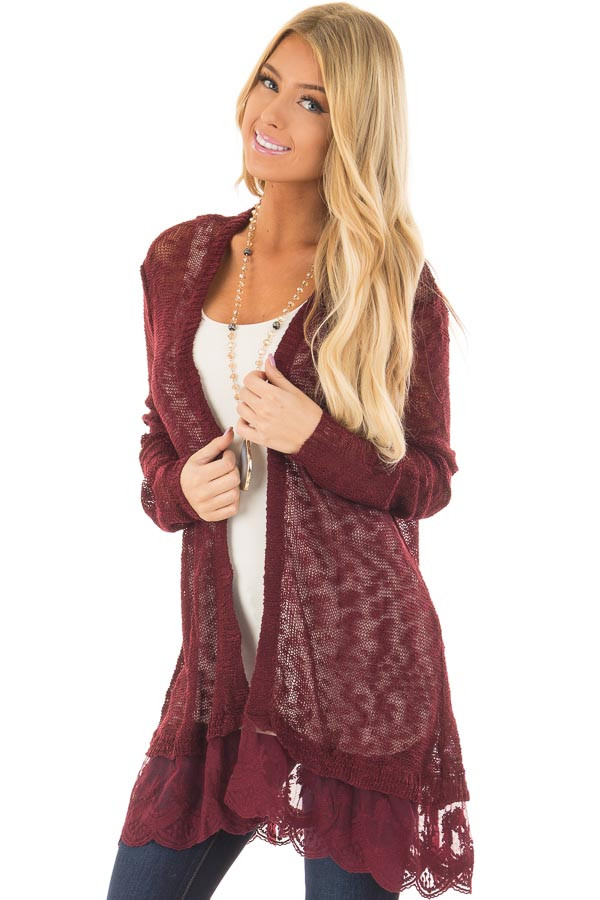 Wine Long Sleeve Cardigan with Sheer Lace Detail front closeup