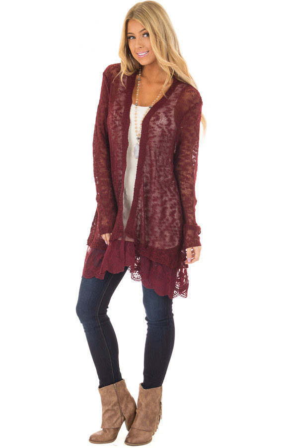 Wine Long Sleeve Cardigan with Sheer Lace Detail front full body