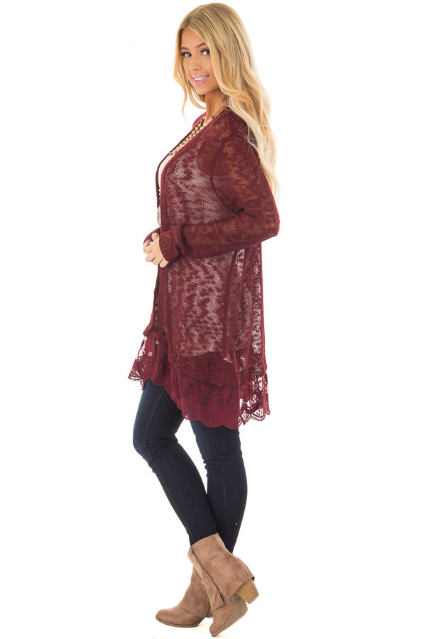 Wine Long Sleeve Cardigan with Sheer Lace Detail side full body