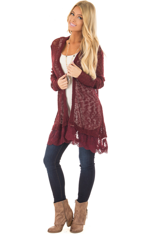 Wine Long Sleeve Cardigan with Sheer Lace Detail - Lime Lush Boutique