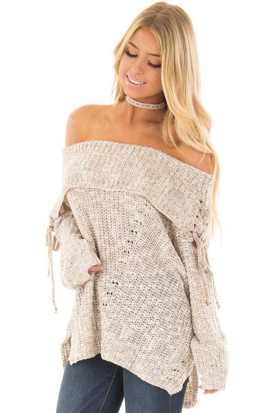 Taupe Off the Shoulder Sweater with Lace Up Details front closeup