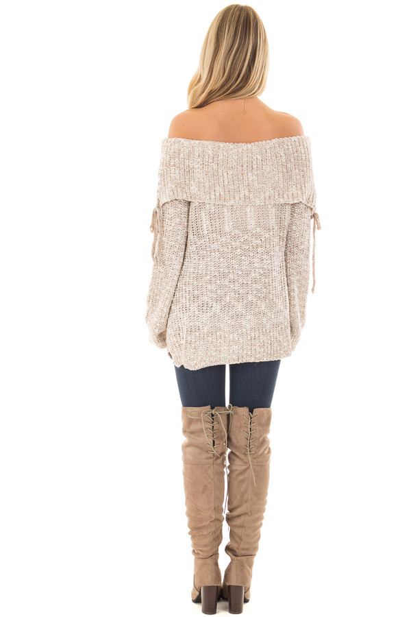 Taupe Off the Shoulder Sweater with Lace Up Details back full body