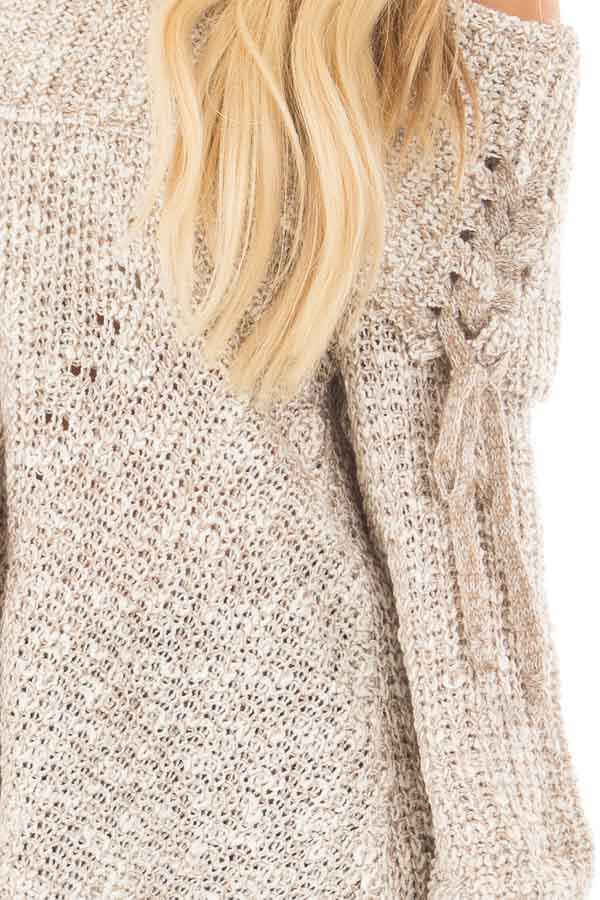 Taupe Off the Shoulder Sweater with Lace Up Details front detail