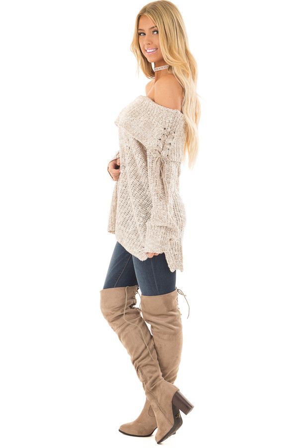 Taupe Off the Shoulder Sweater with Lace Up Details side full body