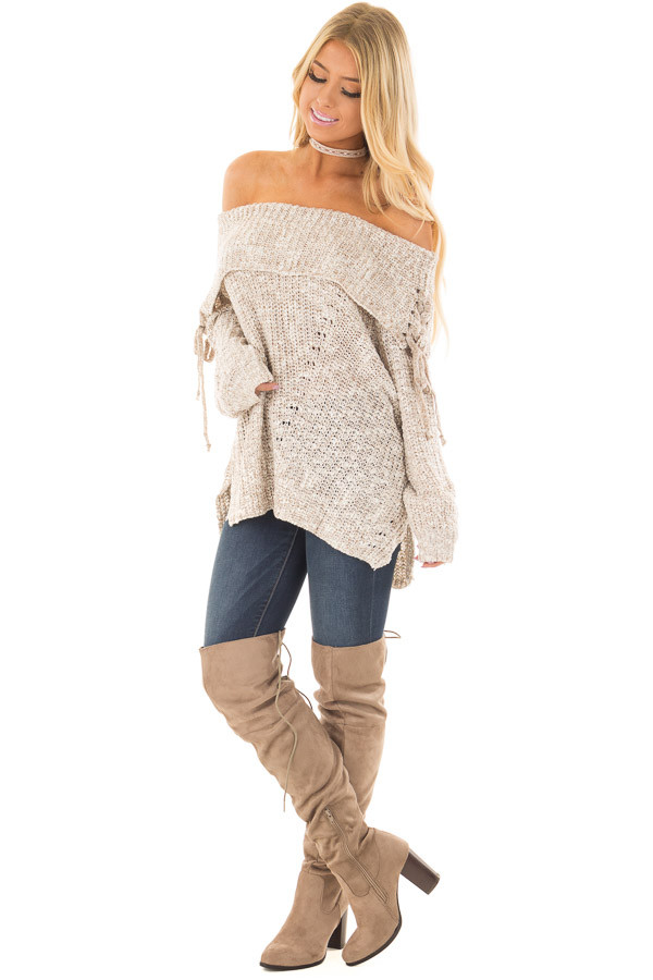 Taupe Off the Shoulder Sweater with Lace Up Details front full body