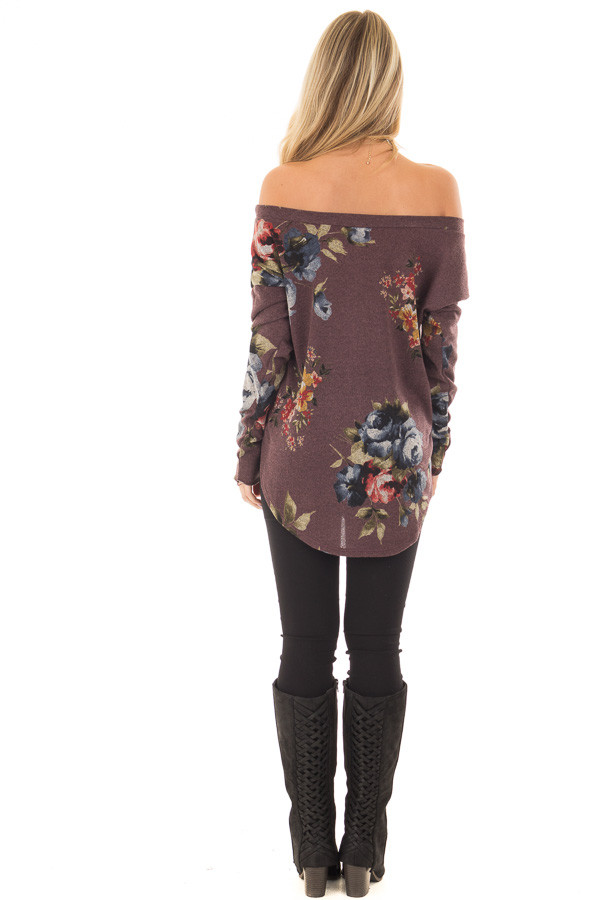 Dark Mauve Floral Print Top with Rounded Hemline back full body