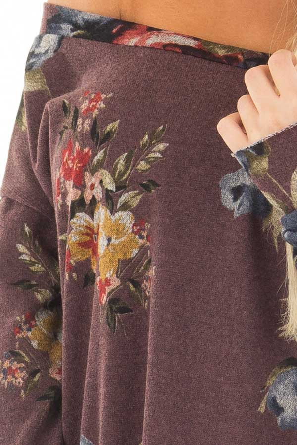 Dark Mauve Floral Print Top with Rounded Hemline front detail