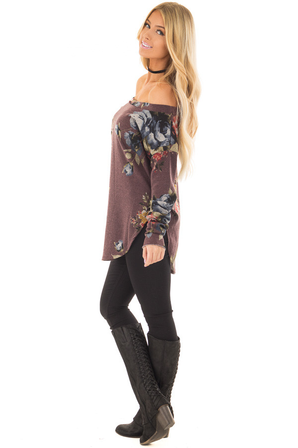 Dark Mauve Floral Print Top with Rounded Hemline side full body