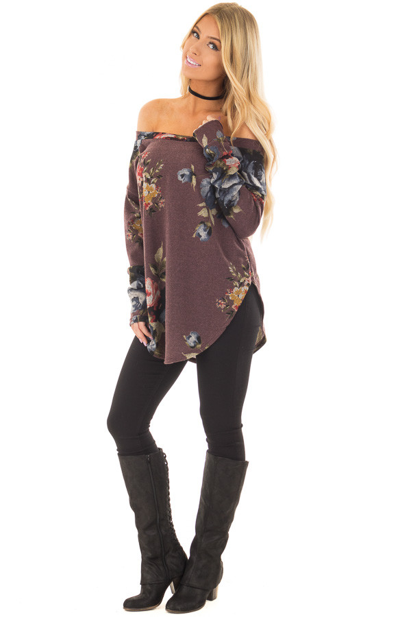 Dark Mauve Floral Print Top with Rounded Hemline front full body