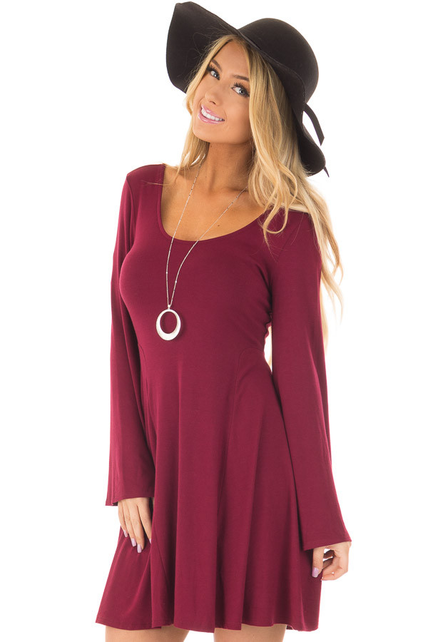 Burgundy Swing Dress with Open Back and Bell Sleeves front closeup